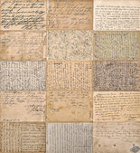 Antique handwritten mails. old undefined texts — Stock Photo