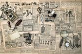 Sewing and writing tools, vintage fashion magazine — Stock Photo