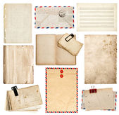 Set of old paper sheets, book, envelope, card  — Stock Photo