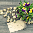 Easter decoration with pansy flowers — Stock Photo