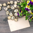 Pansy flowers, quail eggs and greeting card — Stock Photo #44630617