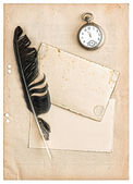 Vintage papers and postcards isolated on white — Stockfoto