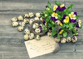 Velikonoční dekorace maceška květy — Stock fotografie