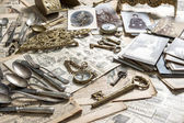 Antique rarity goods, private collection. Shabby chic — Stock Photo