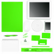 Set of green colored office tools over white — Stock Photo #45305251