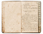 Antique recipe book with handwritten text — Foto de Stock