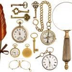 Antique accessories. antique keys, clock, loupe, compass — Stock Photo #46076357