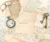 Antique letters and postcards. ephemera — Stock Photo