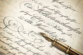Old letter with calligraphic handwritten text — Stock Photo