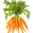 Fresh carrots with green tops isolated on white — Stock Photo #49302753