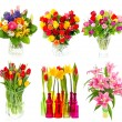 Beautiful bouquet of colorful flowers over white — Stock Photo #49303087