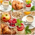 Постер, плакат: Breakfast with coffee croissants orange juice and yogurt