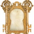 Vintage golden picture frame with canvas — Stock Photo #49309083