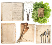 Kitchen utensils, antique cookbook, aged paper pages and herbs — Stock Photo