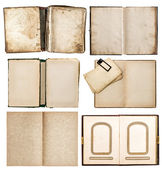 Old books set with aged paper pages — Stock Photo