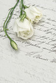 Antique handwritten love letter and flowers — Stock Photo