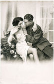 Young romantic erotic sexy couple. antique sepia picture — Stock Photo