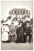 Old photography of a wealthy family — Stock Photo