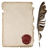 Aged paper sheet with wax seal and ink feather pen — Stock Photo