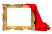 Golden frame with red silk decoration isolated on white — 图库照片