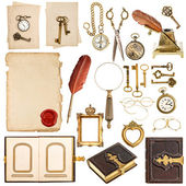 Collection of paper sheets and vintage golden accessories — Stock Photo