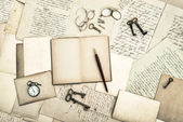 Antique office tolls and keys, old diary book and letters — Stock Photo