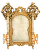 Vintage golden picture frame with canvas — Stock Photo