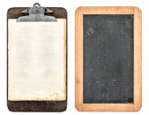 Antique clipboard and chalkboard isolated on white — Stockfoto