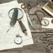 Antique office supplies and writing accessories. nostalgic still — Stock Photo #49567639