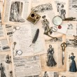 Antique office accessories, writing tools, vintage fashion magaz — Stock Photo #49567667