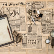 Antique accessories, sewing and writing tools, vintage fashion m — Stock Photo #49567691