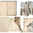 Kitchen utensils, old cook book, antique cutlery — Stock Photo #49568899