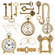Golden antique accessories. vintage keys, clock, compass, glasse — Stock Photo