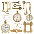Golden antique accessories. vintage keys, clock, compass, glasse — Stock Photo #49569143