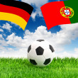 Soccer ball on green grass and flags of germany and portugal — Stock Photo #49569693