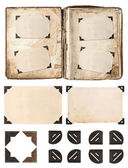 Old album page with photo frames and corners — Stock Photo