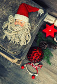 Vintage christmas decoration with antique toys — Foto de Stock