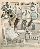 Antique accessories and writing tools, vintage fashion magazine — Foto de Stock