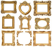Set of golden frames. baroque style antique objects — Stock Photo