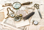 Antique office accessories, old handwritten mails — Stock Photo