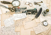 Old handwritten french letters and postcards, vintage office acc — Foto de Stock