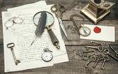 Antique office supplies and writing accessories. nostalgic still — Foto de Stock