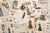 Antique office accessories, writing tools, vintage fashion magaz — Stockfoto