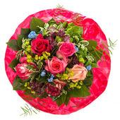 Bouquet of red and pink roses isolated on white — Stock Photo