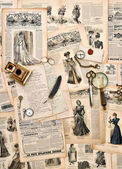 Antique office supplies, old letters, writing tools, vintage fas — Stock Photo