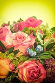 Rose rosa. fiori freschi. foto di stile retrò tonificati — Foto Stock