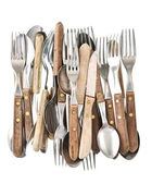 Antique cutlery. Retro kitchen utensils knife, fork and spoon — Stock Photo