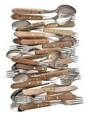 Vintage cutlery. Retro kitchen utensils knife, fork and spoon — Stock Photo