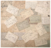 Old postcards. handwritten undefined texts. retro style papers b — Foto de Stock