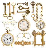 Golden antique accessories. vintage keys, clock, compass, glasse — Stok fotoğraf